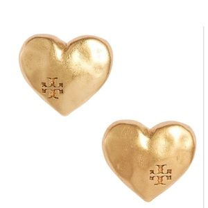 NWOT Tory Burch heart stud earrings
